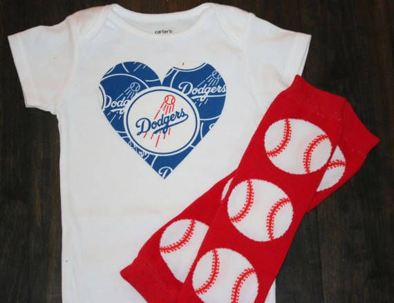 Los Angeles Dodgers baseball heart onesie. Baby girls clothes. Los Angeles baby shower. New baby gift. Baseball bodysuit by TheSportyTee