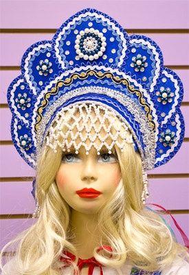 "russian kokoshnik headdress | Russian Folk Costume Kokoshnik Headdress ""Elena"" Girls' Dark Blue ..."