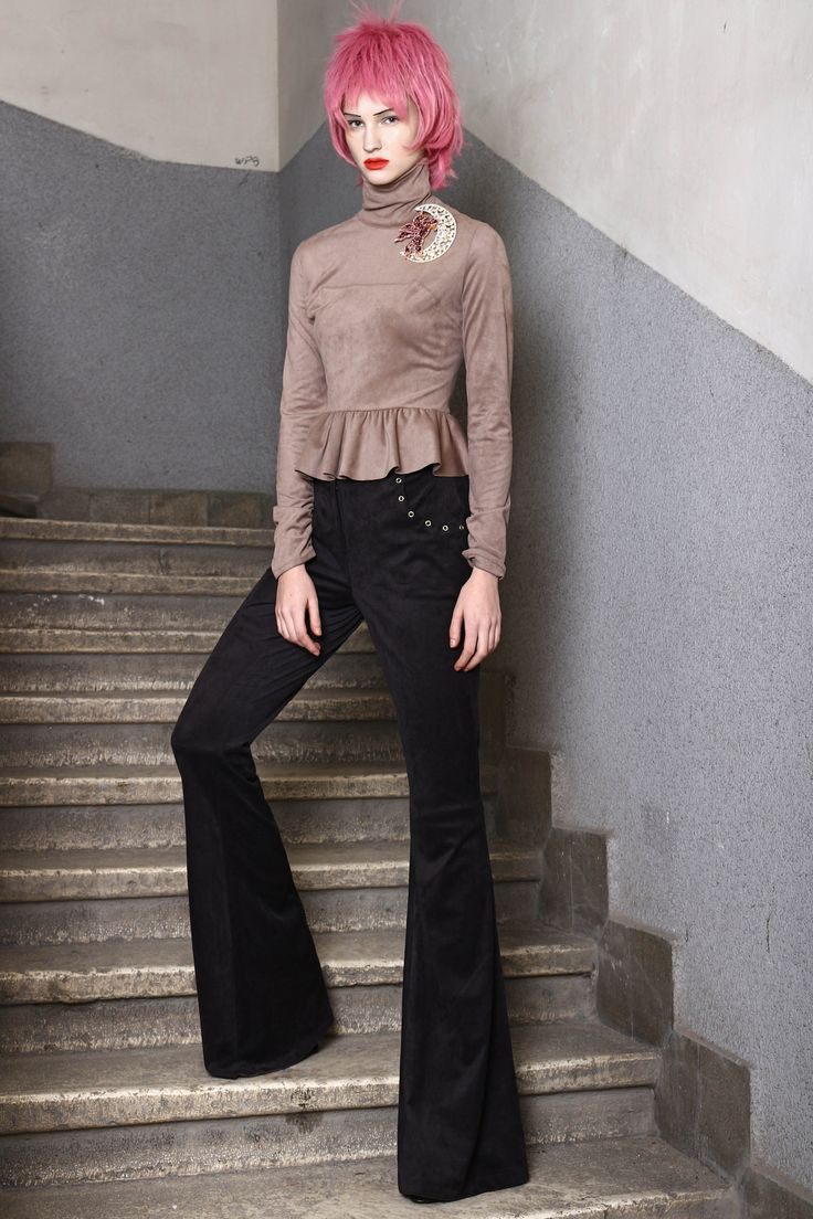 Abodi synth suede peplum top and trousers