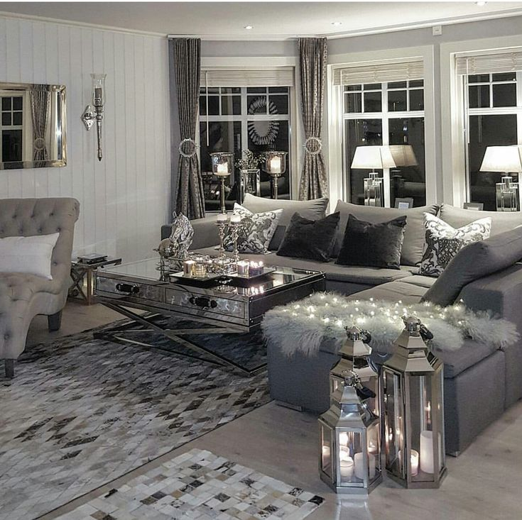 Gray And White Transitional Rustic Living Room With: Modern Seating, Rustic Elements, Patterned Rug, Gray Color