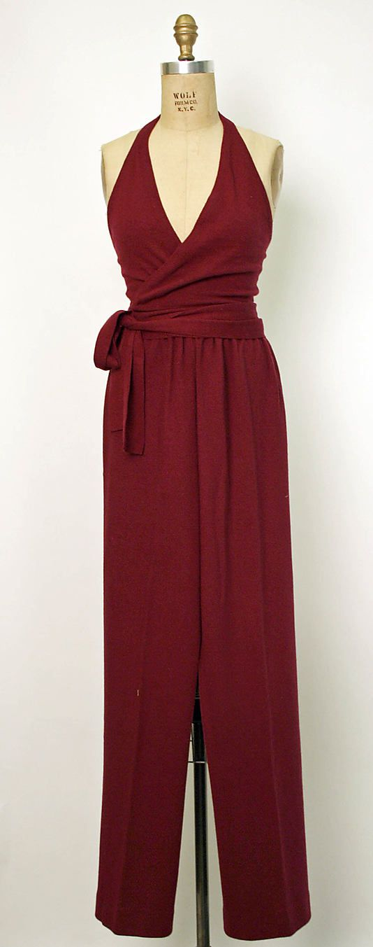 1970's Halston cashmere-wool wrap, halter-top jumpsuit.