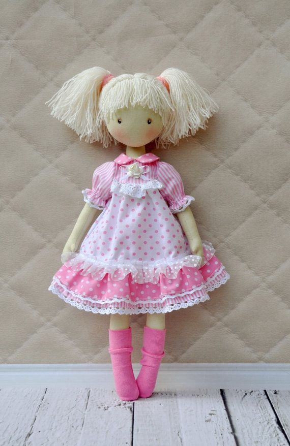 Textile doll decorative doll doll doll cotton rag от NilaDolss