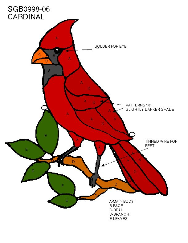 cardinal stained glass pattern