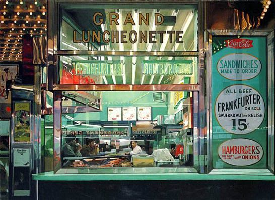 Richard Estes, grand luncheonette new york city 1960s (oil on canvas). Master of Photo-Realism