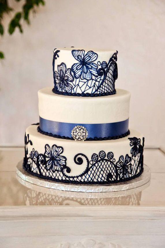 Beautiful Blue Lace Pattern Three Tiered Wedding Cake ...