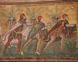 The Magi. Mosaic from a late 6th century mosaic at the Basilica of Sant'Apollinare Nuovo in Ravenna, Italy.