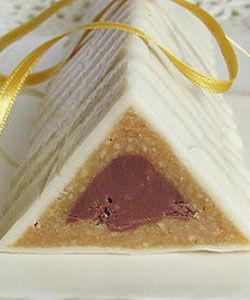 Orient Triangles - This decorative cake that does not bake is combination of several ingredients that are my weakness: marzipan, nougat and cashews. Enriched with saffron, cherry liqueur and bitter almond liqueur. Taste somewhat remind of Mozart balls. Seemingly too many ingredients and flavors yet merged into one fantastic combination.
