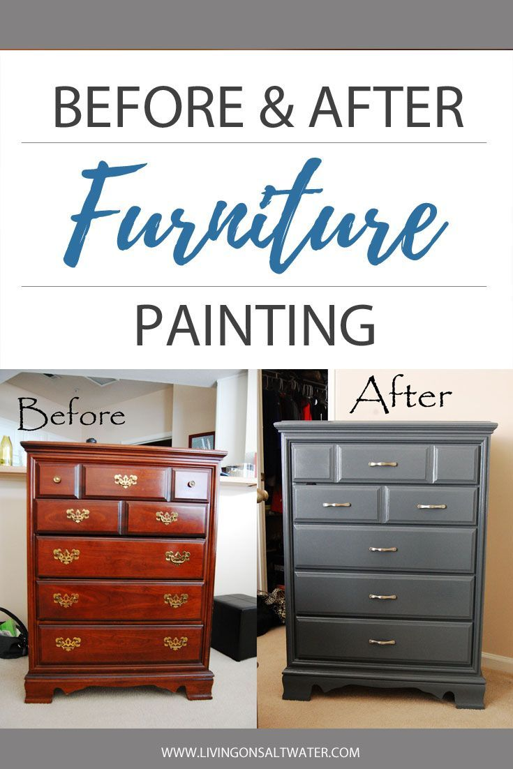 Before And After Of Bassett Chest Of Drawers Furniture Painted In Dark Gray Painted Bedroom Furniture Grey Bedroom Furniture Cherry Bedroom Furniture
