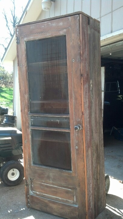 Barn board book cabinet with old screen door front just for Barn door screen door