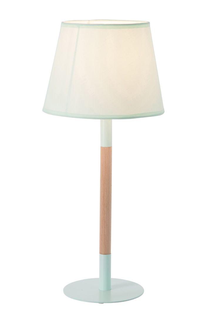 Tafellamp vintage metaal/hout groen 23x23x52cm e14