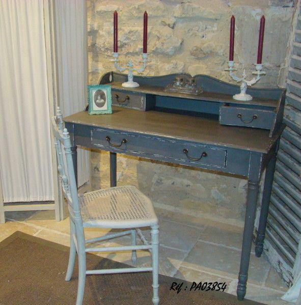 Ravissant petit bureau style louis philippe patin gris - Bureau largeur 50 cm ...
