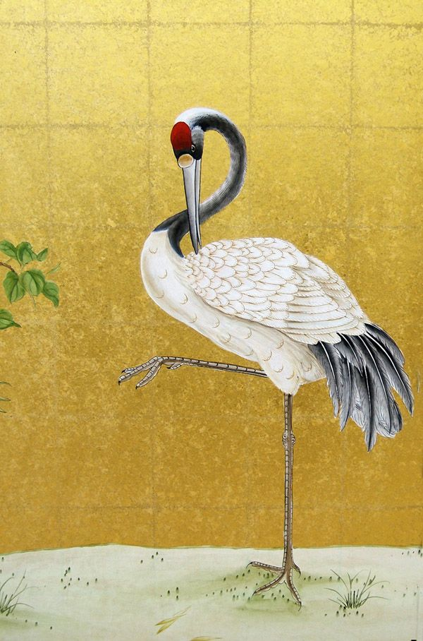Chinese crane on gold leaf