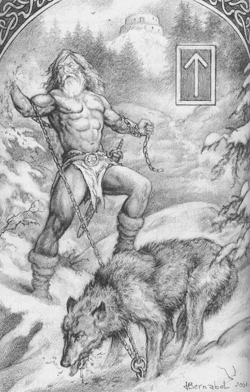 Happy Tuesday! (Tyr bleeding while Fenrir munches on Tyr's severed hand. Bummer. Rune: TEIWAZ – TIWAZ. Shown because Tiwaz is for Tyr!)