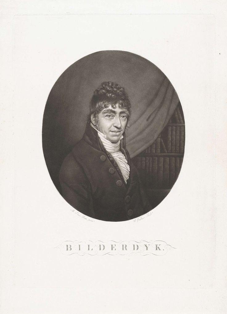 Willem Grebner | Portret van Willem Bilderdijk, Willem Grebner, 1794 - 1866 | De geschiedschrijver, taalkundige, dichter en advocaat Willem Bilderdijk. Op de achtergrond een boekenkast.