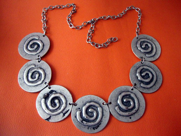 Greek Eternity Spiral Key Custom Jewelry Pewter Necklace Adjustable Length 40 - 55 cm by SilveradoJewellery on Etsy