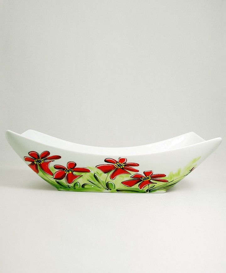 Bol à fruits : : Fleurs rouges Produit peint à la main.