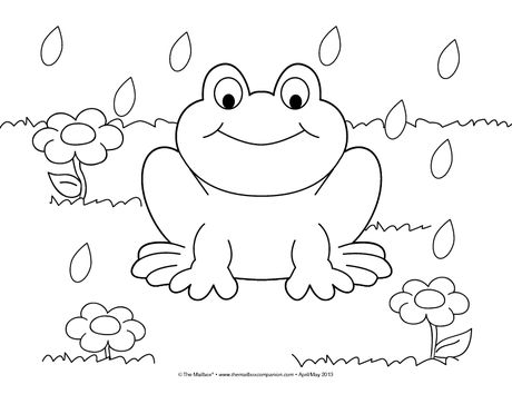 This adorable spring coloring page can reinforce counting and following oral directions. How many flowers (raindrops)? Color two flowers pink and one flower purple. Color the frog green.