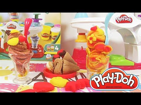 Today we are going to play with playdoh set and make very nice and good looking clay ice desserts. We have two play-doh set making ice-cream and shakes: Play-Doh maker station for making  shakes and craft kit with doh toys for making play-doh ice-cream, we will make waffle cone with scoop ice-cream.