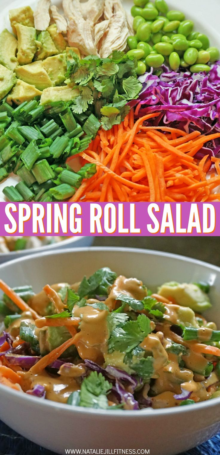 "Love this clean and healthy recipe with and Asian flare! I paired it with my spin on the typical ""peanut"" sauce. Try this spring roll salad and tell me what you think! Do you love it like I do?! Repin if you want to try!"