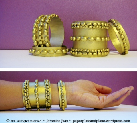 Gold bean bangles! Perfect for a disposable costume bangle, hello Cleopatra!