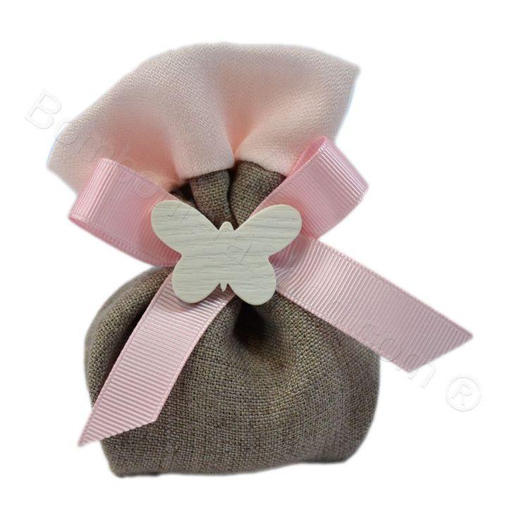 Portaconfetti Soft Natural rosa con applicazione farfalla e confetti