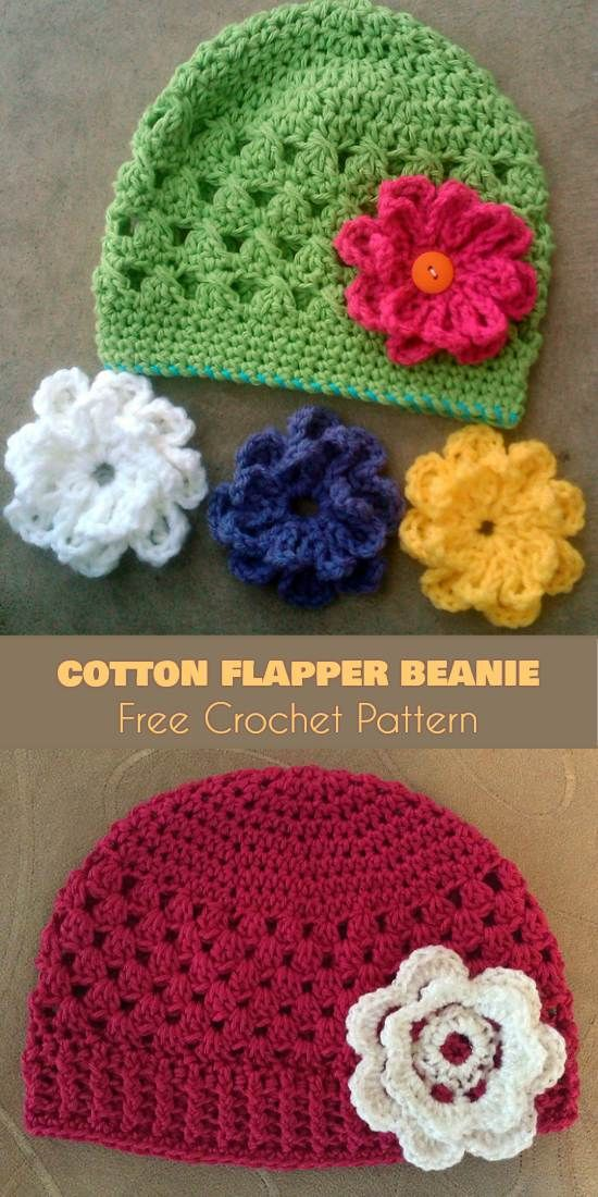 Cotton Flapper Beanie Free Crochet Pattern. A perfect hat. Can be wore all year long. Every girl will love hat with interchangable flower clips in many colors. You can be sure it will be favourite hat of your daughter - if she doesn't want to wore hat till know you must be sure that she refuse to take it off.