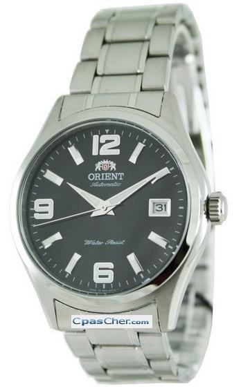 Montre Orient automatique, style classique, bracelet et boîtier acier, cadran noir.