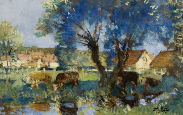 Cows by the Water, Pierre-Eugene Montezin. French Impressionist Painter (1874 - 1946)