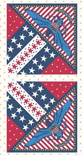 Patriotic quilt panel for the Quilts of Valor Foundation. Since 2003, Quilts of Valor Foundation (QOVF) has awarded over 100,000 healing quilts to military service members and veterans touched by war. These quilts are the civilian equivalent of a Purple Heart.