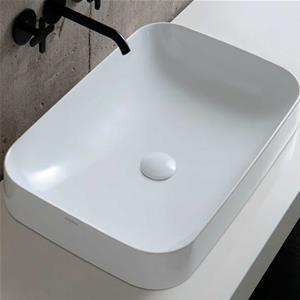 Lavabo In Ceramica Elegance Soft 60x40 Cm Azzurra Installazione Da