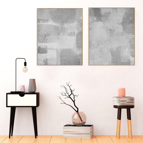Grey Abstract Art, Set of Two Printable Modern Minimalist Artworks, Grey Minimal Wall Art, Printable Contemporary Art