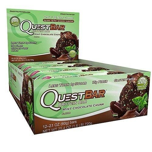 :Quest Nutrition Protein Bars - Mint Chocolate Chunk - 2.1 Oz. Bars - 12 Count