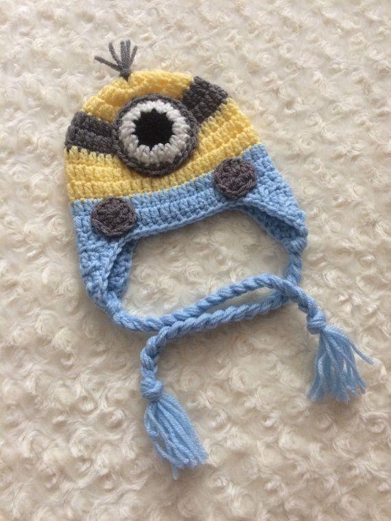 Crochet el sombrero de Minion de bebé  azul  por encargo