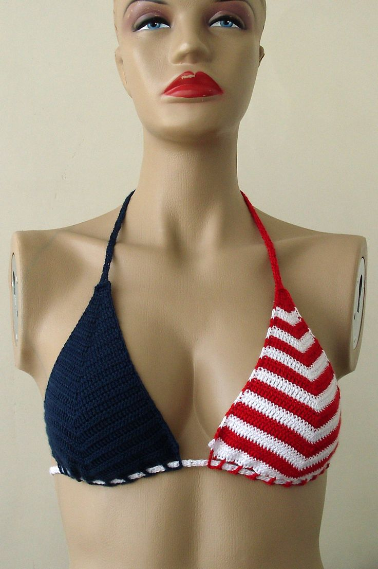 Красный Белый Тёмно-синий вязание крючком бикини женщины по formalhouse