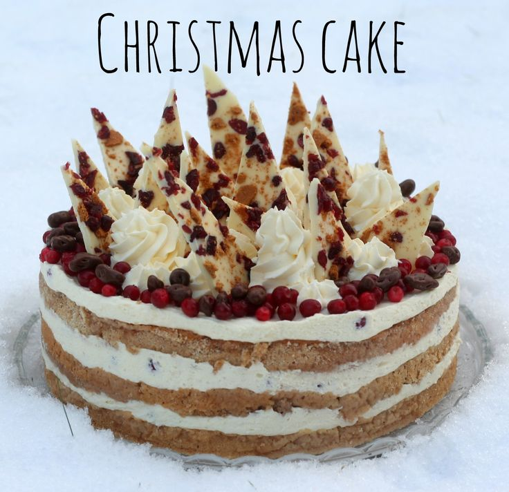 Lingonberry and white chocolate cake with taste of ginger bread