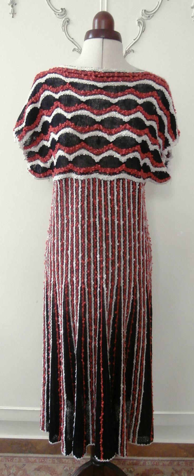 Vintage 1970's Natural Fibre Black, Red & White Knitted Midi-Dress UK Size 10-12 by SBDVintage on Etsy
