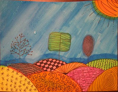 Zentangle Watercolor Pen & Ink by 8 year old.