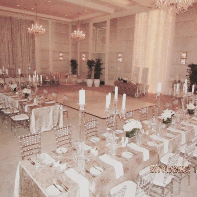 Setting up in the One&Only ballroom. Family style dining with uncluttered elegant lines. Photo credit: amateur photographer