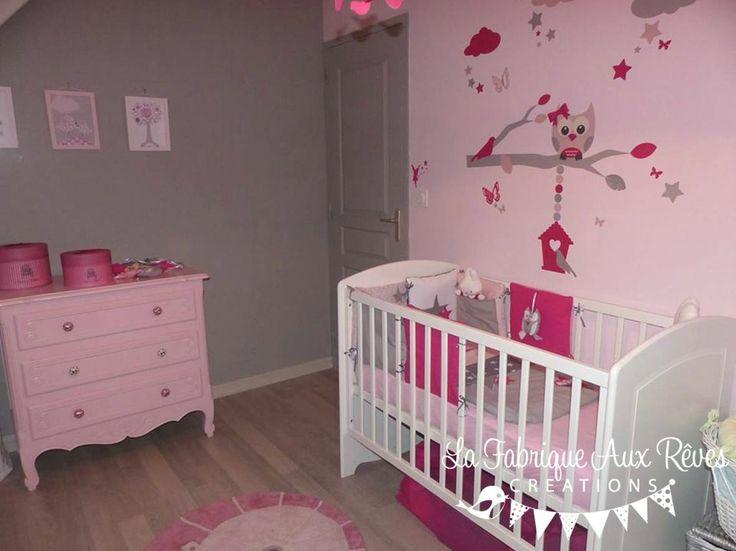 décoration chambre bébé fille stickers tour lit rose fuchsia poudré gris argenté hibou chouette étoiles