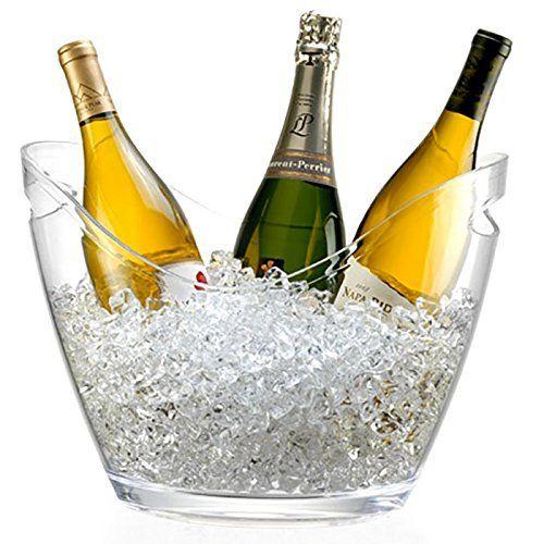 Seau à Champagne 3 Bouteilles – Pour Champagne, seau à glace – Transparent: Seau à Champagne élégant avec poignées très pratique Convient…