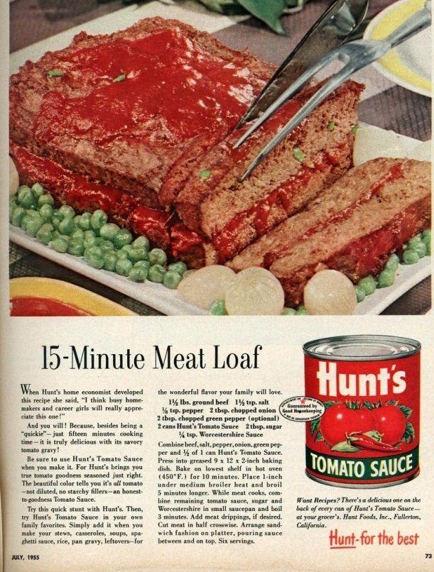 15-Minute Meatloaf recipe 1 1/2 lbs ground beef 1 1/2 tsp salt 1/8 tsp pepper 2 tbsp chopped onion 2 tbsp chopped green pepper (optional) 2 cans Hunt's Tomato Sauce 2 tbsp sugar 1/4 tsp Worcestersh...