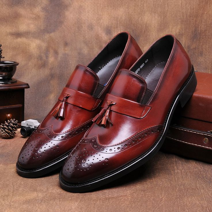 >> Click to Buy << Black / brown tan pointed toe loafers shoes mens dress shoes genuine leather wedding shoes man casual business shoes with tassel #Affiliate