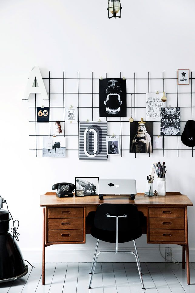 inspiring workspace in black and white, love the vintage desk  - Boligliv