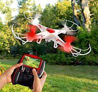 Flugdrohne mit Kamera, Live-Bild in Farbe direkt auf der Fernbedienung, mit Video-Funktion & 4 GB microSD-Karte