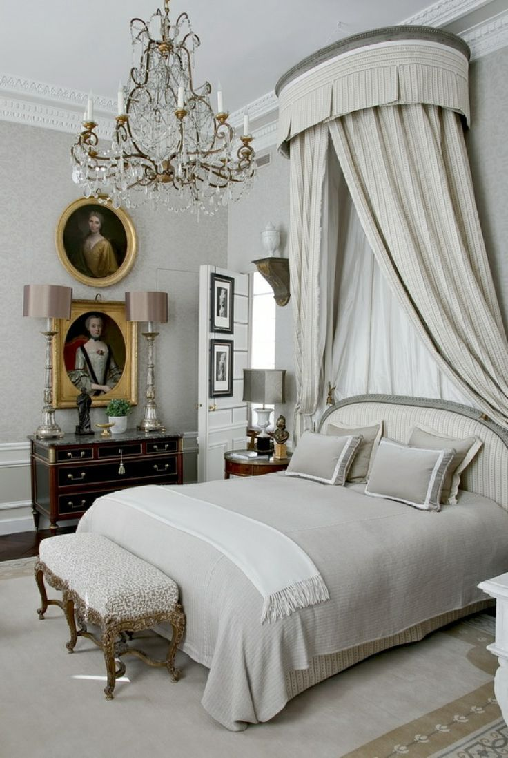 249 best bedrooms images on pinterest bedroom ideas bedrooms bedroom in grays with french bed and chandelier jean louis deniot rue des saints peres paris