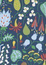 62,90€ Prix par rouleau (par m2 11,80€), Papier peint floral, Matériel de base: Papier peint intissé, Surface: Lisse, Aspect: Mat, Design: Fleurs stylisées, Couleur de base: Bleu foncé, Couleur du motif: Jaune, Vert jaune, Bleu clair, Rouge, Blanc, Caractéristiques: Résistant à la lumière, Difficilement inflammable, Arrachable à sec, Encollage du mur, Lessivable