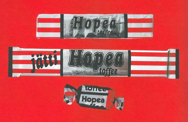Hopeatoffeen monet muodot. Vuonna 1983 markkinoille tuli Jätti Hopea toffee. Alla juuri myyntiin tulleita miniversioita, joiden kanssa noin nostalgisoida kasaria. Kuva kirjasta Salmiakki, Juhana Annala (2001) #kadonnutkasari #kasari