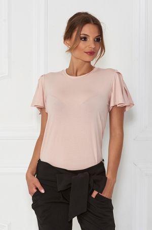 Jednoduché tričko s okrúhlym výstrihom v prednej časti. Rukávy sú volánovo šité. Vhodné k džínam, sukni.