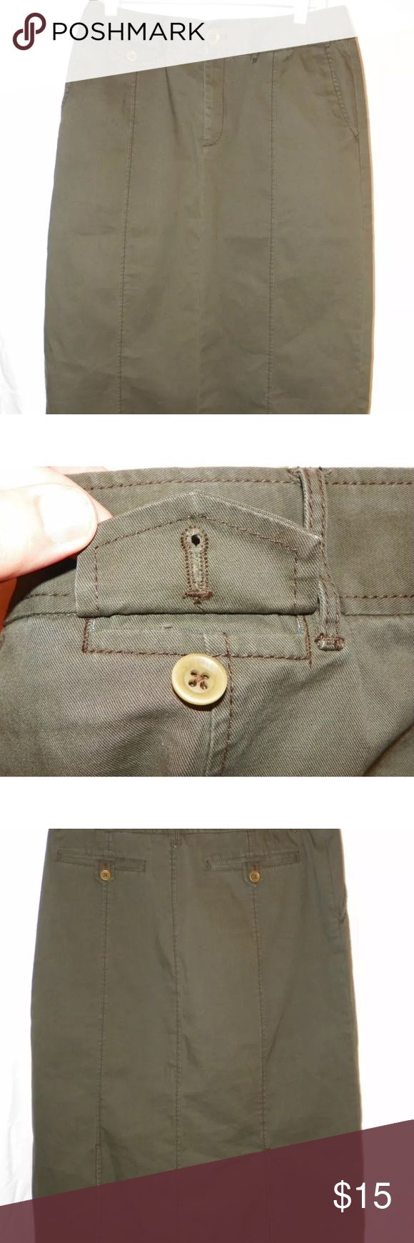 """Eddie Bauer Long Khaki Skirt Olive green 31"""" long skirt. Comes from a smoke free home. Eddie Bauer Skirts A-Line or Full"""