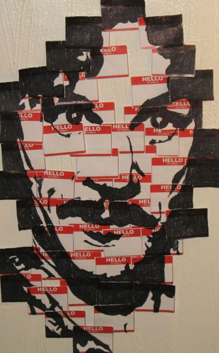"Inigo Montoya portrait...made of ""Hello, my name is..."" name tags. this is the best"